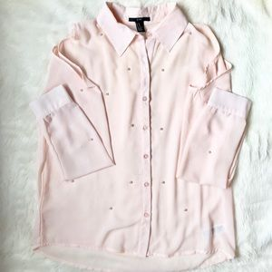 Forever 21 Pale Pink Pearl Shoulder Cutout Blouse
